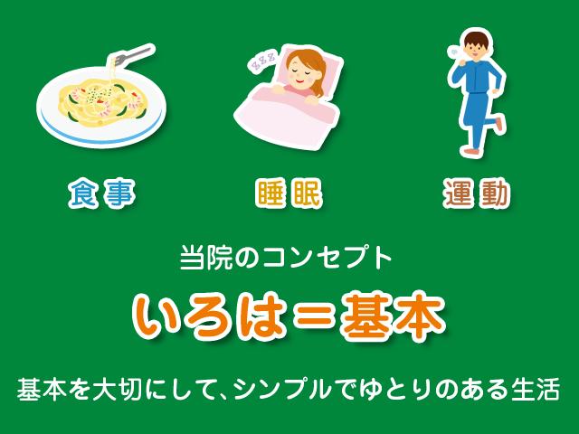 いろはとは「基本」という意味がありいろは治療院のコンセプトの「食事」「睡眠」「運動」という基本的なことを大切にしています。